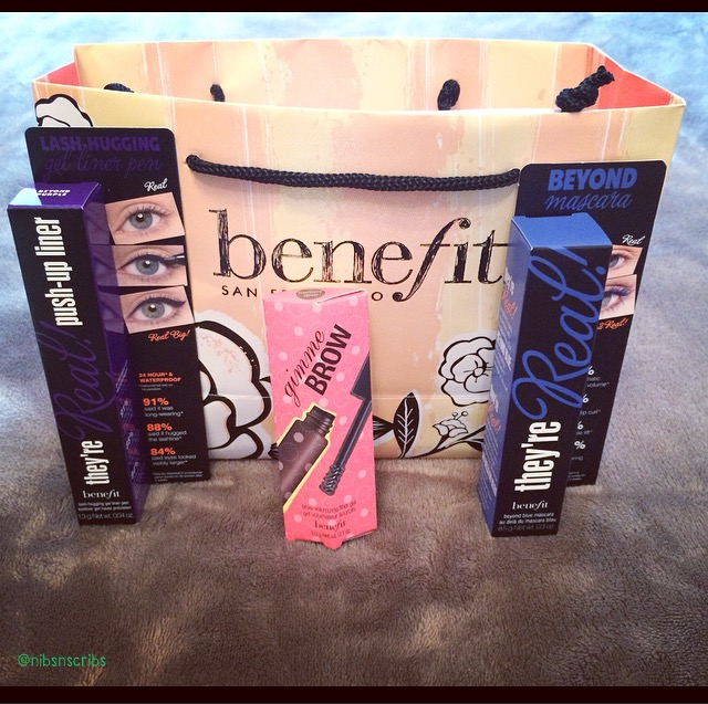 Benefit Cosmetics They're Real Push Up Liner, Gimmie Brow, They're Real Mascara Blue