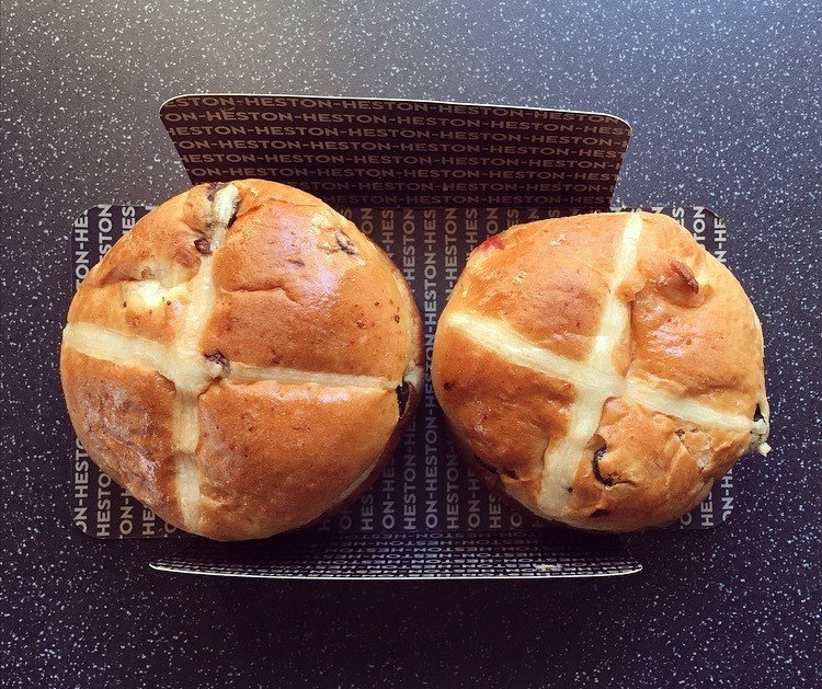 Heston from Waitrose Cherry Bakewell Hot Cross Bun