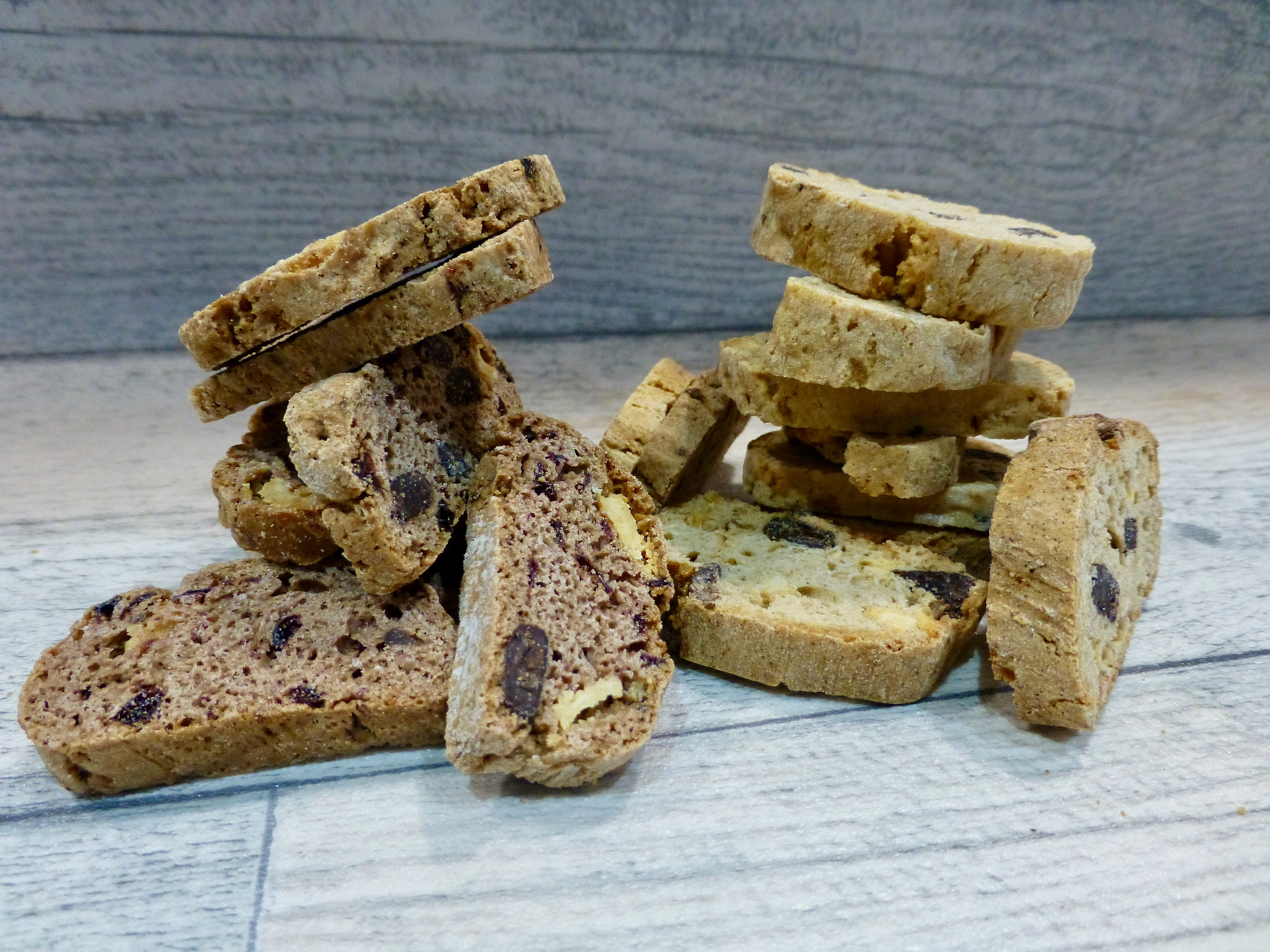 Great British Biscotti Co Spiced Apple and Dark Chocolate and Sour Cherry and Double Chocolate
