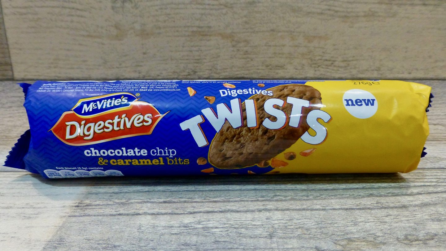 McVitie's Digestives Twists Chocolate Chip and Caramels Bits